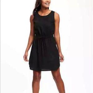 Old Navy Linen Blend Tie Waist Black Dress